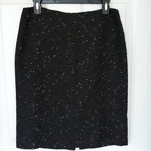 Ann Taylor Black with White Specks Pencil Skirt